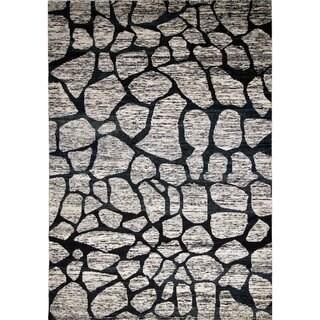 Sari Silk Kingsley Grey/Black Hand-knotted Viscose Rug, (9'10 x 12'11)