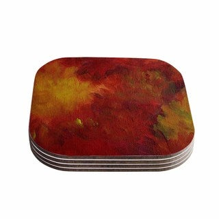Kess InHouse Cyndi Steen 'Winsor Flower' Red Yellow Coasters (Set of 4)