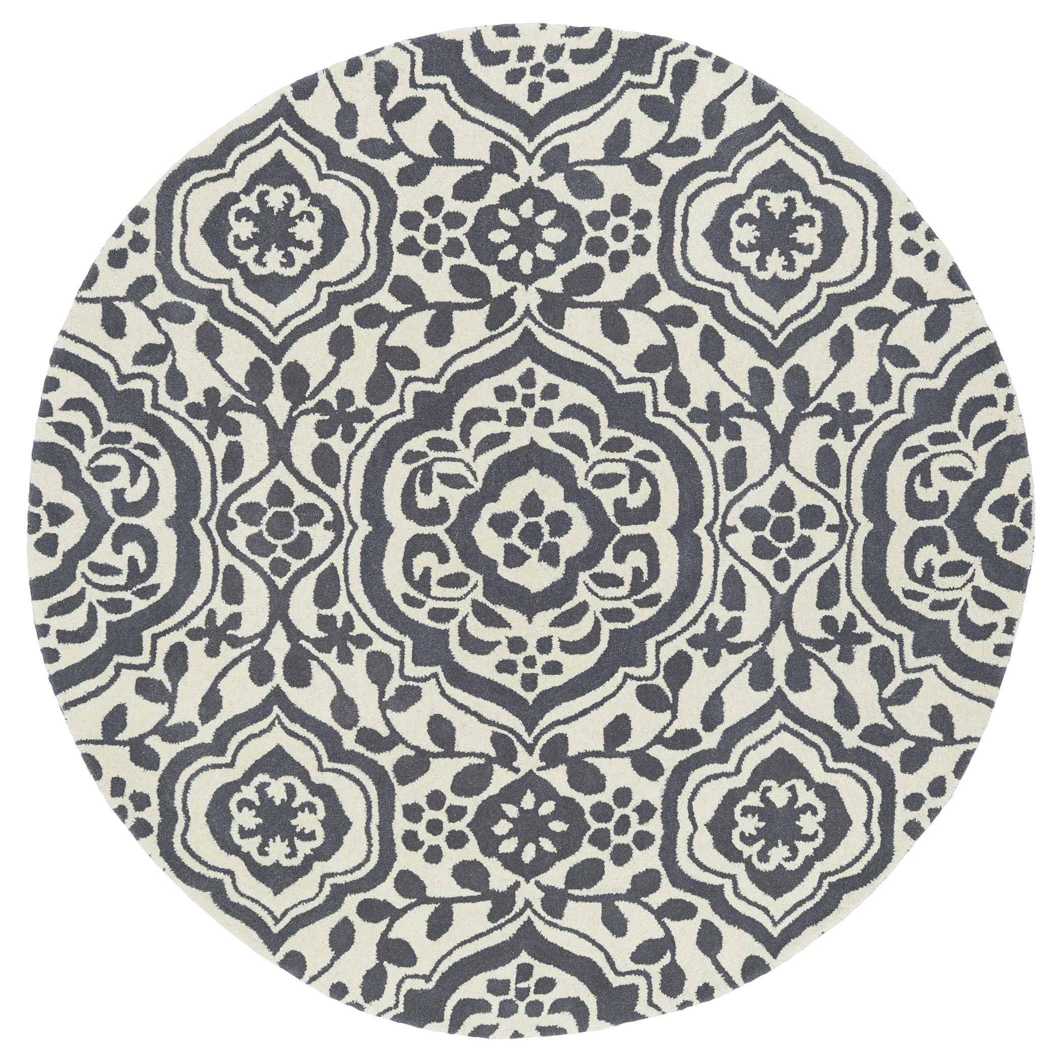 Runway Charcoal/Ivory Damask Hand-Tufted Wool Rug (119 Round) - 119 Round (Grey - 119 Round)