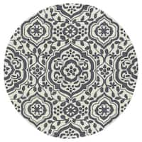 Runway Charcoal/Ivory Damask Hand-Tufted Wool Rug (11'9 Round)