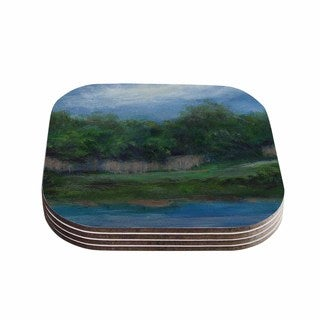 Kess InHouse Cyndi Steen 'A Cooler View' Blue Green Coasters (Set of 4)