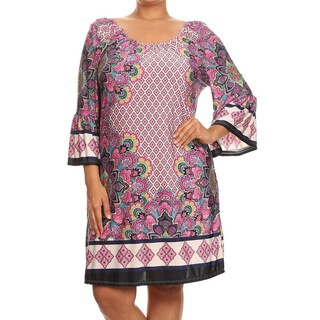 MOA Collection Women's A-Line Border Print Polyester and Spandex Shift Dress