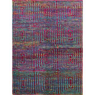 Sari Silk Bailey Teal Blue Hand-Knotted Rug (5'8 x 7'8)