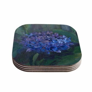Kess InHouse Cyndi Steen 'Hydrangea' Floral Green Coasters (Set of 4)
