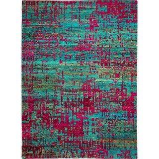 Sari Silk Eddie Teal Blue Hand-knotted Viscose Rug (8'3 x 9'4)