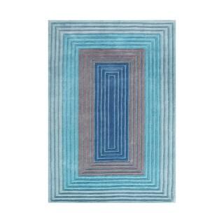 Adorn Alliyah Geo-illusions Deep Ocean Blue Luxurious Hand carved Rectangular Blue Rug (5' x 8')