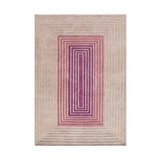 Alliyah Illusions Rectangular Hand-carved Rose Wool Rug (5' x 8')