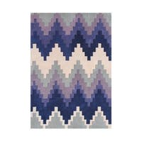 Alliyah Geo-Chevron Blue/Ivory/Purple Wool Area Rug (5' x 8') - 5' x 8'