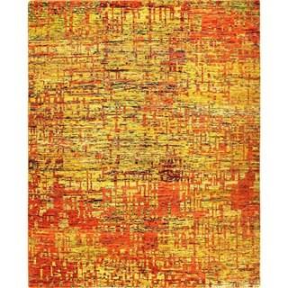 Stuart Gold Sari Silk Hand-knotted Rug (8'3 x 10'1)