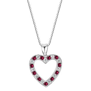 Sterling Silver Lab-created Ruby and Lab Created White Sapphire Heart Pendant Necklace