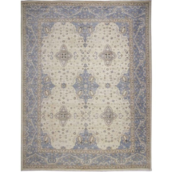Peshawar Cooper Ivory Hand-knotted Rug (9'1 x 11'5)