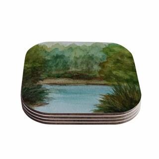 Kess InHouse Cyndi Steen 'Blue Lake Channel' Green Watercolor Coasters (Set of 4)