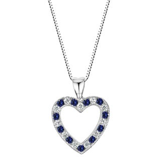 Sterling Silver Lab-created Blue and White Sapphire Heart Pendant Necklace