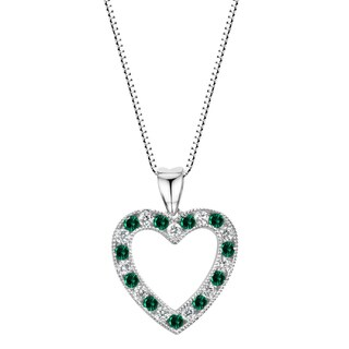 Link to Sterling Silver Lab-created Emerald and White Sapphire Heart Pendant Necklace - Green Similar Items in Necklaces