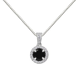 Sterling Silver Round Black Onyx Halo Pendant Necklace