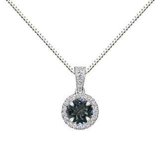Sterling Silver Round London Blue Topaz Halo Pendant Necklace