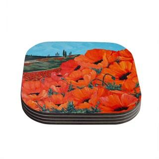 Kess InHouse Christen Treat 'Poppies' Coasters (Set of 4)