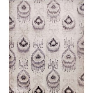 Art Silk Marlie Ivory/Grey Hand-knotted Viscose Rug (8'3 x 9'8)