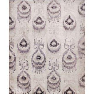 Art Silk Marlie Ivory/Grey Hand-knotted Viscose Rug (8'3 x 9'8)