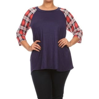 MOA Collection Women's Plaid Sleeve Plus-size Top