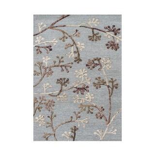 Alliyah Botanical Turquoise Wool and Silk Area Rug (5' x 8')