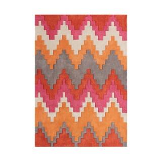 Alliyah Geometric Steps Wool Hand-woven Rectangular Rug (5' x 8')