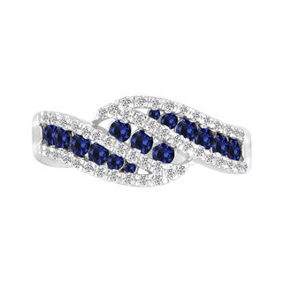 Sterling Silver Lab-created Blue and White Sapphire Ring