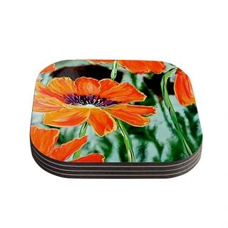 Kess InHouse Christen Treat 'Through the Looking Glass' Orange Green Coasters (Set of 4)