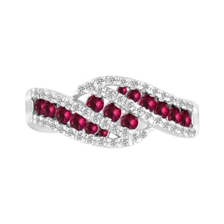 Sterling Silver Lab-created Ruby and White Sapphire Ring - Red