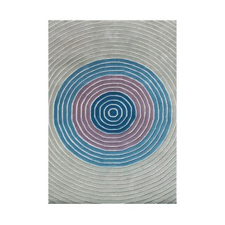 Alliyah Bulls-eye Textured and Colorful Contemporary European Design Wool Area Rug (5' x 8')