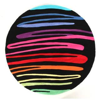 Alliyah Abstract Colorful Decorative Ribbons Round Wool Floor Rug (6x6)