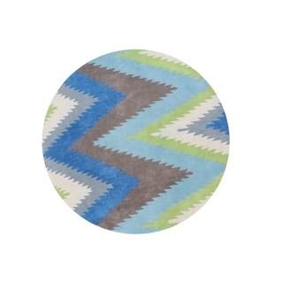 Alliyah Geometric Thunderbolt Lamb's Wool Handmade Round Area Rug (6') - 6' x 6'