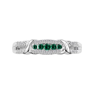 Sterling Silver Lab-created Emerald Ring