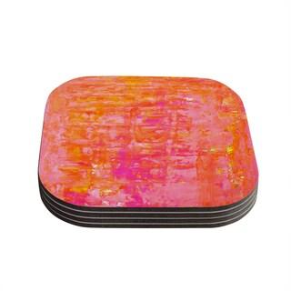 Kess InHouse Kess InHouse CarolLynn Tice Wiggle Pink/Orange Compressed Wood Coasters (Pack of 4)