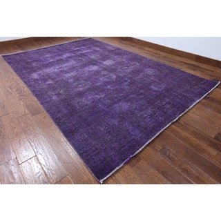 Purple Wool Hand-knotted Oriental Overdyed Rug (6'9 X 10'5)