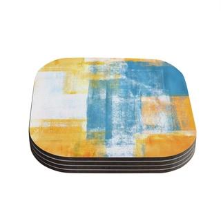 Kess InHouse CarolLynn Tice 'Color Combo' Blue Yellow Coasters (Set of 4)