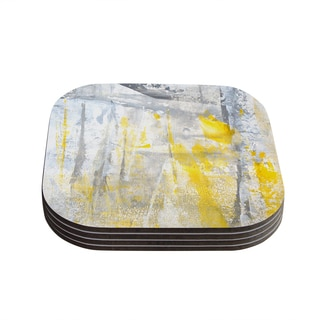 Kess InHouse CarolLynn Tice 'Abstraction' Grey Yellow Coasters (Set of 4)