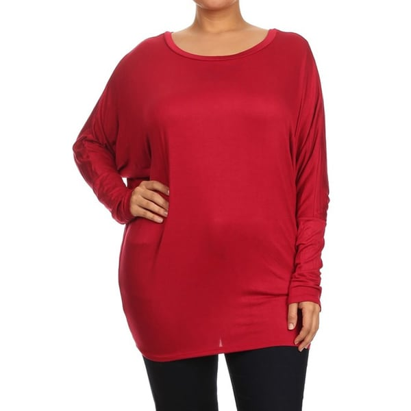 MOA Collection Women's Rayon/Spandex Plus-size Solid Shirt