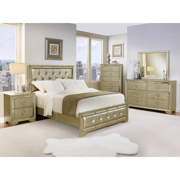 Abbyson Valentino Mirrored And Leather Tufted 6 Piece King Bedroom Set