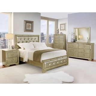 Abbyson Valentino Mirrored and Leather Tufted 6-piece King Bedroom Set
