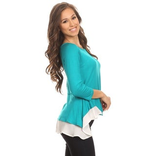 MOA Collection Women's Layered Contrasting Top