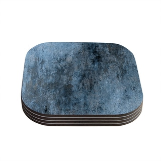 Kess InHouse Carol Lynn Tice 'Familiar' Dark Blue and Grey Wood Coasters (Pack of 4)