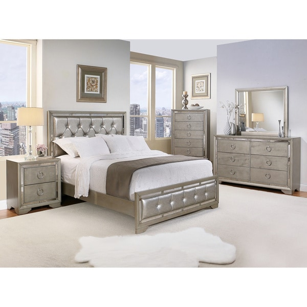 valentino mirrored and leather tufted 6 piece queen size bedroom set