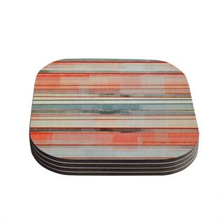 Kess InHouse CarolLynn Tice 'Patton' Orange Teal Coasters (Set of 4)