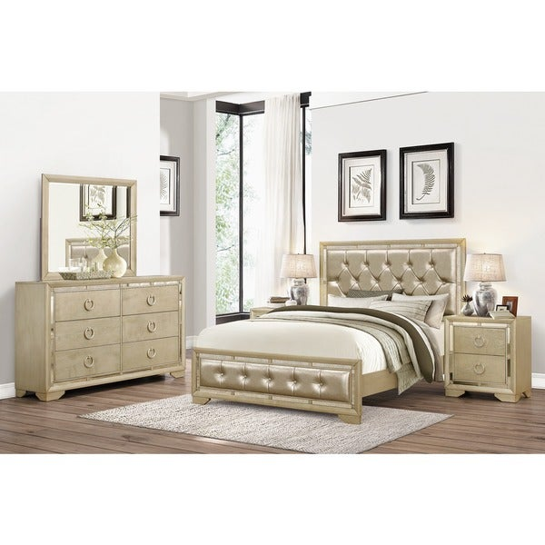 Abbyson valentino mirrored and leather tufted 5 piece king for Bedroom furniture 50 off