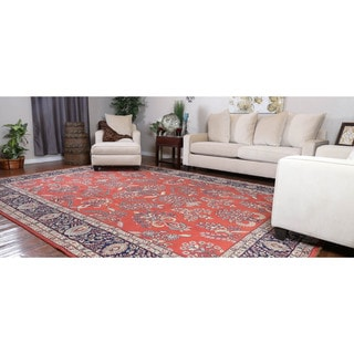 Somette Hand-knotted Sarouk Red Oriental Wool Rectangular Area Rug (10' x 14')