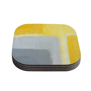 Kess InHouse CarolLynn Tice 'Inspired' Grey Yellow Coasters (Set of 4)