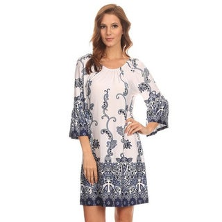 MOA Collection Women's Multicolor Ornate-print Polyester/Spandex Shift Dress