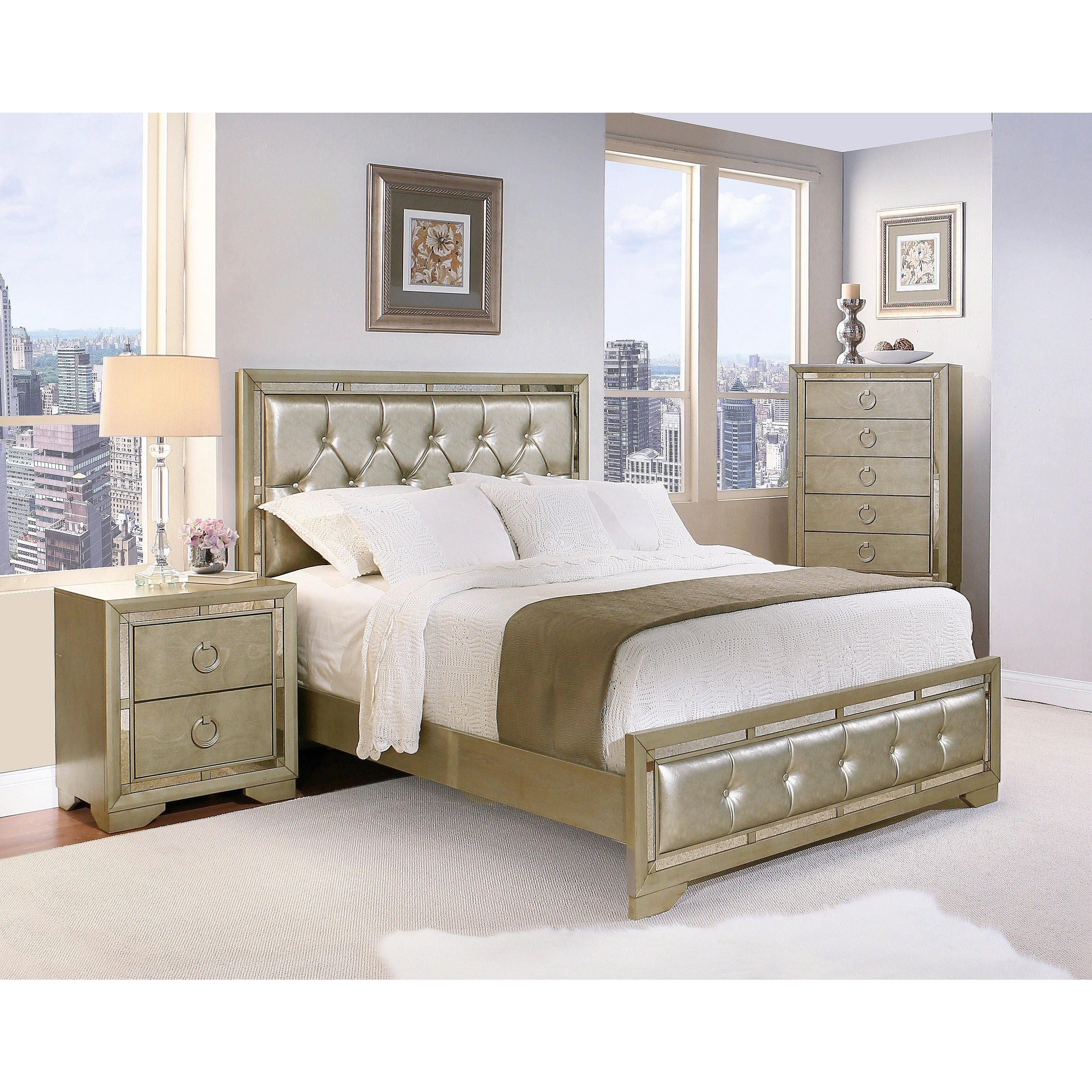 Picture of: Shop Abbyson Valentino Mirrored And Leather Tufted 4 Piece California King Size Bedroom Set Overstock 11806193