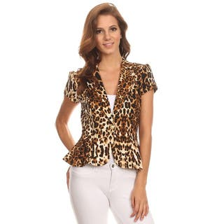 MOA Collection Women's Leopard Blazer-style Jacket|https://ak1.ostkcdn.com/images/products/11806197/P18714455.jpg?impolicy=medium